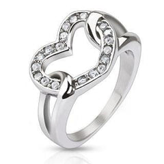 Love Buckle - Multi Cubic Zirconia's Heart Shaped Stainless Steel Engagement Ring
