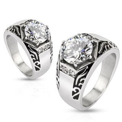 Spellbound - Well Crafted Stainless Steel Signet Ring Style with Large Cubic Zirconia Side Gems and Tribal Detailing