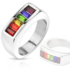 Librata - Rainbow Color Stainless Steel Ring with Beautiful Cubic Zirconia's.