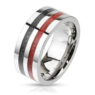 Start Your Engine– Black and red carbon double inlay wide polished band stainless steel ring