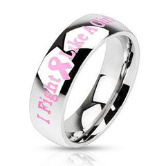 I Fight Like A Girl - Mirror Polished I Fight Like A Girl Slogan Stainless Steel Pink Ribbon Breast Cancer Awareness Band