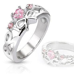 Sentimental - Pink Cubic Zirconia Heart with Bow Stainless Steel Engagement Ring