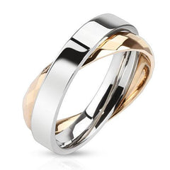 Rose Circle Duo - Rose Gold and Stainless Steel Interlocking Rings