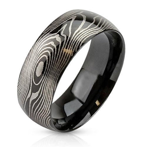 Prints Charming - Black IP stainless steel etched finger print design men's ring