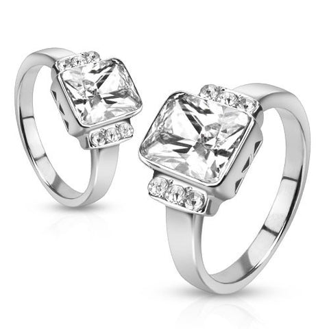 Joyful - Polished Stainless Steel Radiant Cut White Solitaire Cubic Zirconia Studded Engagement Ring