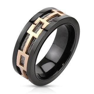 Magnum - Rose Gold IP Rectagular Center band Black Ion Plated Comfort Fit Stainless Steel Ring