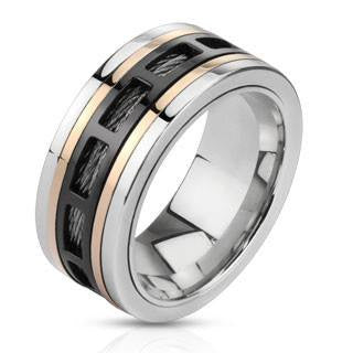 Spin Master - FINAL SALE Tri tone Stainless Steel Center Comfort Fit Ring