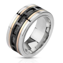 Spin Master - Tri tone Stainless Steel Center Comfort Fit Ring