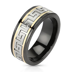 Apollo - FINAL SALE Black Ion Plated Stainless Steel Spinner Ring with Tri Toned Maze Design