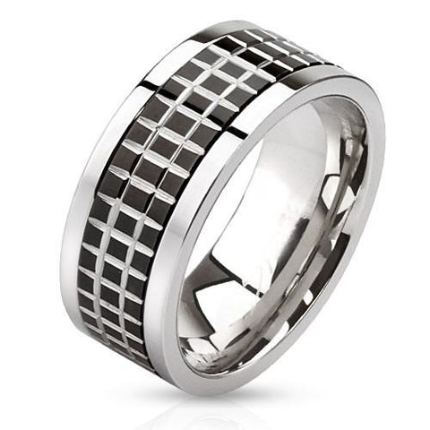 Graph Paper – Edgy Polished Stainless Steel Black Tile Center Spinner Ring
