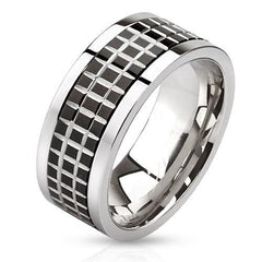 Graph Paper – FINAL SALE Edgy Polished Stainless Steel Black Tile Center Spinner Ring
