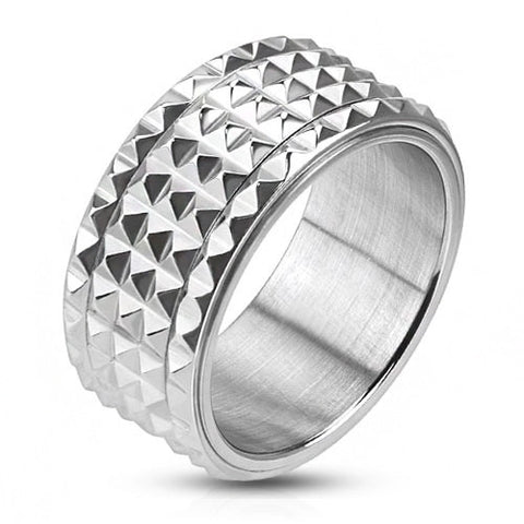 Spike - FINAL SALE Pyramid cut spiked silver stainless steel men's spinner ring