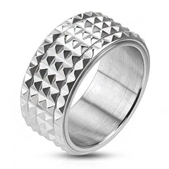 Spike - Pyramid cut spiked silver stainless steel men's spinner ring
