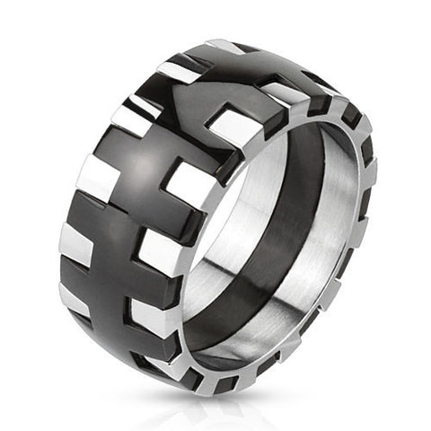 Gear – Rock 'n' Roll Polished Black Silver Stainless Steel Cogwheel Design Ring