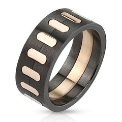 Photo Finish – Masculine Oval Segmented Rose Gold Black Brushed Finish Stainless Steel Ring