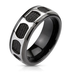 Determination - Black IP Wired and overly Patterend Center Band Stainless Steel Comfort-Fit Ring