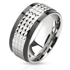 Tough Guy – Edgy Two-Tone Black and Silver Stainless Steel Spiked Ring
