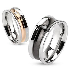Love in Vogue - Gold and Black IP Two Tone Couples Wedding Ring with Cubic Zirconia Solitaire in Stainless Steel