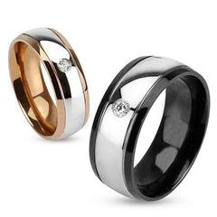 Elegance for Two - Gold and Black IP Two Tone His and Hers Dome Wedding Ring with Cubic Zirconia Solitaire in Stainless Steel