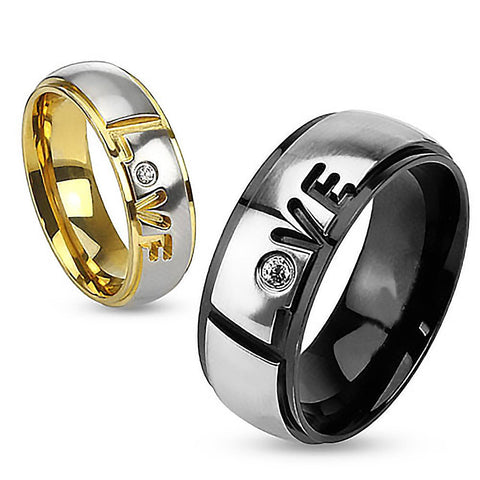 Band of Love - FINAL SALE Carved Gold and Black IP Couples Love Ring with Cubic Zirconia in Two Tone Stainless Steel