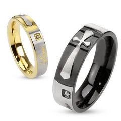 Faith in Love - Round Cut Cubic Zirconia Set in Black and Gold IP Engraved His and Hers Stainless Steel Cross Ring