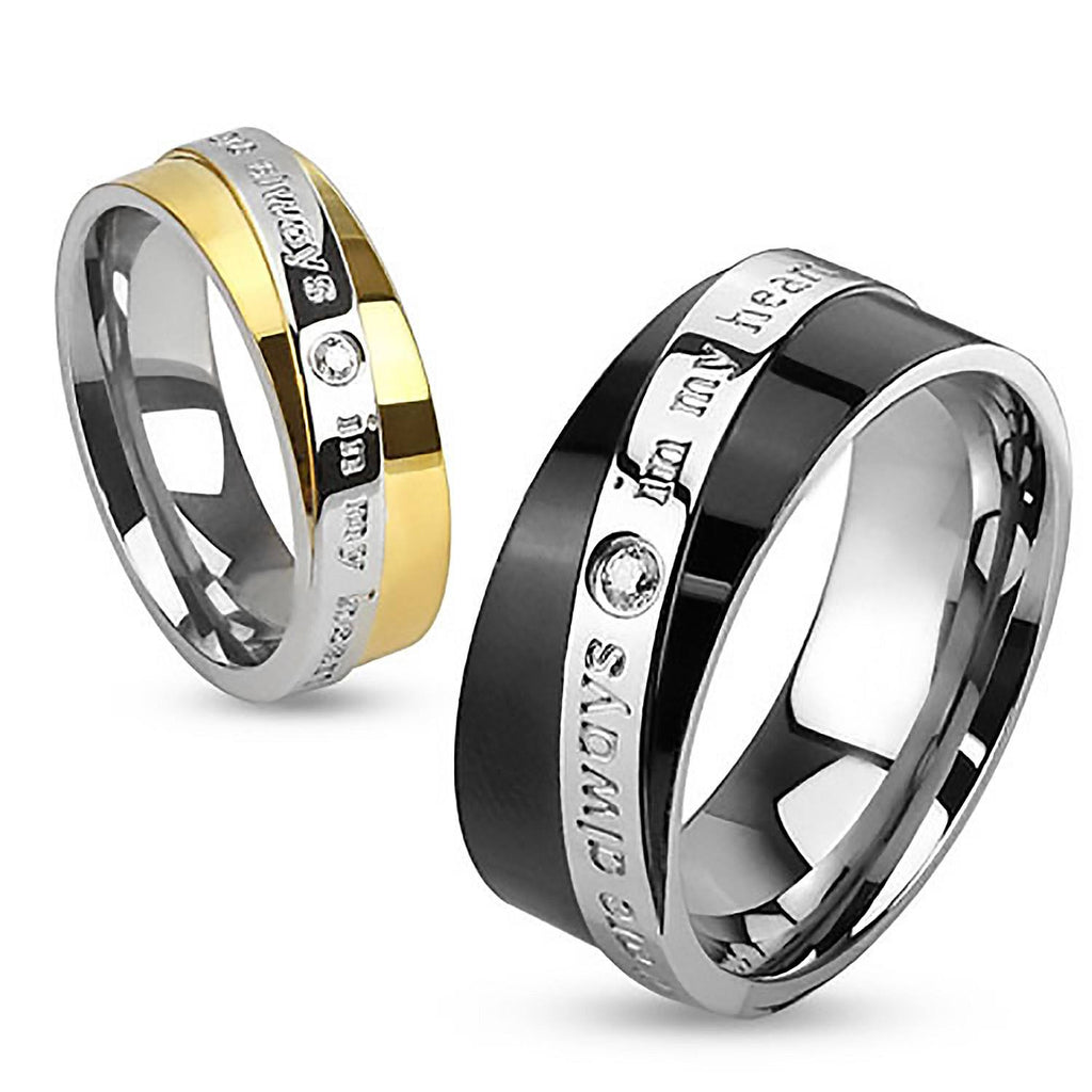 9901096e81 Always In My Heart. Round cut cubic zirconia set in gold and black IP  engraved couples stainless steel ring