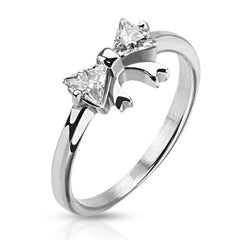 Silver Bow – White Cubic Zirconia Bow Design Polished Stainless Steel Ring