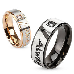 Always Together - Round cut cubic zirconia set in rose gold and black IP engraved his-and-hers stainless steel anniversary ring