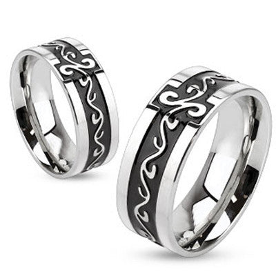 Tribal Meets Tuxedo - Black oxidized stainless steel center band with silver tribal scrollwork design couples ring