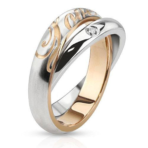 Double the Love– Polished rose gold IP and silver stainless steel engraved double band love ring with cubic zirconia solitaire