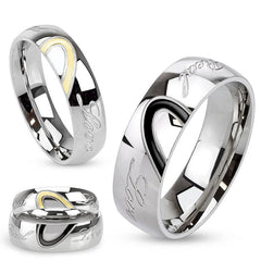 Real Love - Polished engraved stainless steel ring with half heart