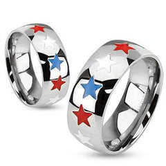 Home of the Brave  - Patriotic red white and blue enamel stars stainless steel unisex dome band ring