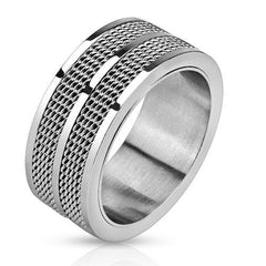 Double Gridwork – Double grid center band design silver stainless steel men's ring
