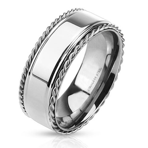 The Baron– FINAL SALE Stainless steel ring with polished center band and twisted rope edges