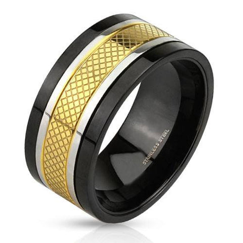 Fame and Fortune- Black IP gold IP and silver tritone etched center band spinner ring in stainless steel