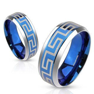 Loyal - Blue IP etched Meander Greek Key maze design silver stainless steel couples ring