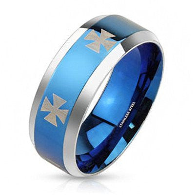 Iron Blue - Laser etched iron cross design blue IP and silver stainless steel band with beveled edges