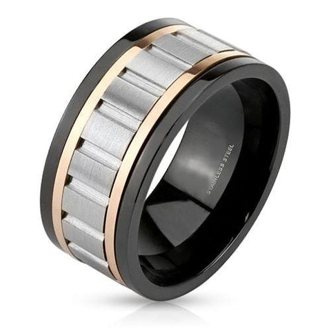 Spinography - Silver rose gold and black IP stainless steel grooved center men's spinner ring