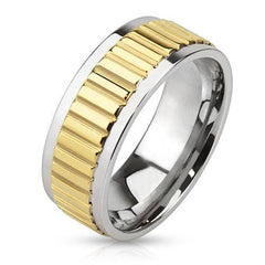 Gold Bar - Raised bar design center band silver and gold IP stainless steel men's ring