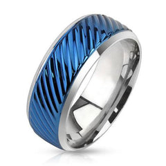 Blue Whirlwind - Blue IP and silver diagonal groove cut stainless steel men's ring