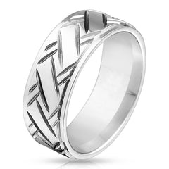 Hatchet - Cross hatched diamond cut stepped edge stainless steel men's ring