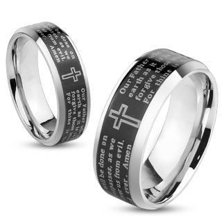 Thy Kingdom Come Black - Lord's Prayer inscribed black IP bevelled edge stainless steel his and hers ring