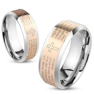 Thy Kingdom Come Rose - Lord's Prayer inscribed rose gold IP bevelled edge stainless steel his and hers ring