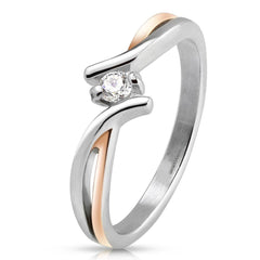 Blush - Rose gold IP silver stainless steel two tone cross over band with cubic zirconia solitaire stone