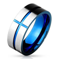 Cross Groove - FINAL SALE Blue IP Grooved Stainless Steel Cross Ring