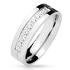 Silver Shine - Unisex Stainless Steel Clear CZ Ring