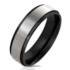 Affinity In Black - Black Ion Plated Stepped Edge Ring With Brushed Stainless Steel Center