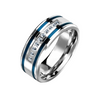 Dedication - Men's Stainless Steel Ring With Two Blue IP Grooved Stripes And Clear CZ Stones
