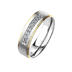 All The Shine In Gold - Unisex Brushed Stainless Steel Ring with CZ Stones and Gold PVD Stepped Edges