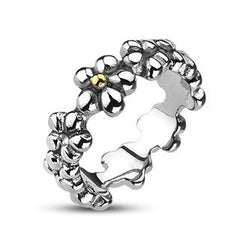 Flower Child - Add Abundance to Your Style Floral Design Stainless Steel Shiny Ring
